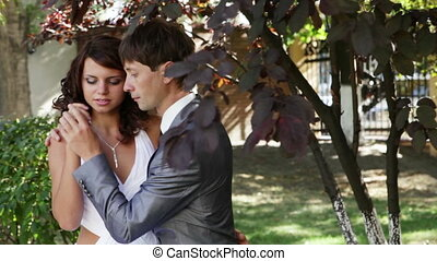 Couple flirting on nature