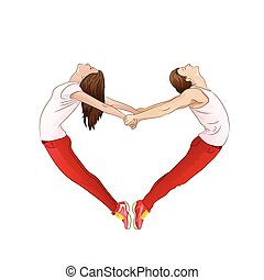 couple forming a valentine's heart shape with their bodies, isolated over white background