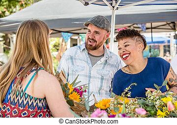 couple, fournisseur fleur, famers, marché