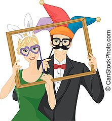 Illustration of a Couple Wearing Wacky Photobooth Props Holding a Frame