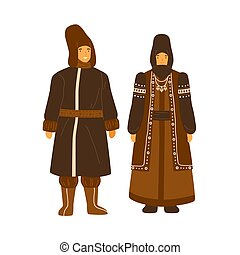 Couple from Yakutia or Sakha Republic wearing national winter costume. Female character in traditional coat and headdress. Man in yakut hat and garment. Flat vector illustration isolated on white.