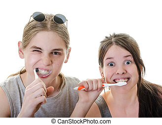 Couple Funny Brushing Teeth