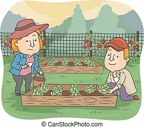 Illustration of a Couple Taking Care of The Vegetables on Their Raised Box