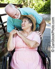 couple, gardien, personne agee