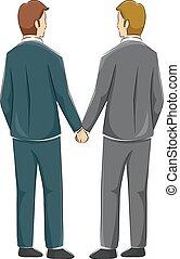 couple, gay, arrière affichage, tenir mains