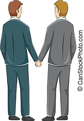Couple Gay Back View Hold Hands