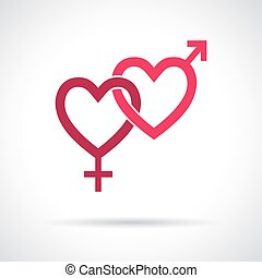Couple gender icon. Connected hearts. Pink flat symbol with shadow. Design element for Valentine's Day, wedding, baby shower, birthday card etc. Vector illustration.