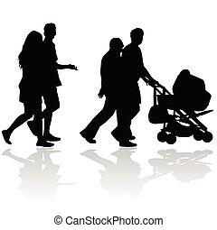 couple, gens, à, poussette bébé, silhouette