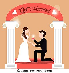 couple get married - man proposing woman vector illustration...