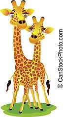 couple, girafe, dessin animé