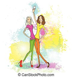 couple girl friends taking selfie photo on smart phone over colorful splash