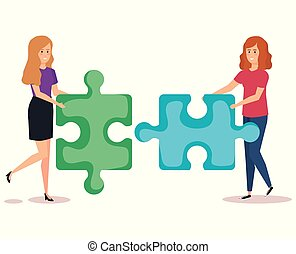 couple girls with puzzle pieces