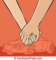Couple go from car