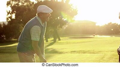 couple, golf, piquer loin, heureux