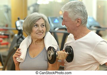 couple, gymnase, exercisme