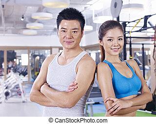 couple, gymnase, jeune