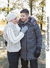 couple, habillement, hiver, aimer