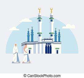 Couple Hajj Pilgrimage Walk To Great Mosque Of Mecca