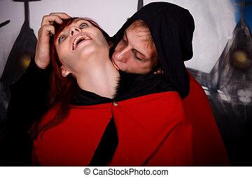 couple, halloween, vampire