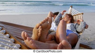 couple, hamac, dormir, plage, 4k