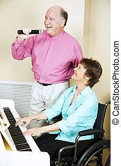 couple, handicapé, -, chant