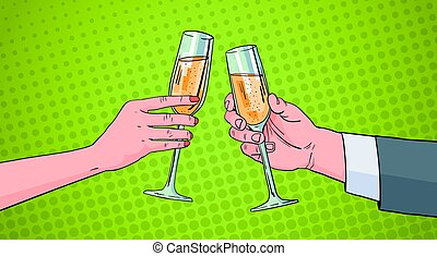 Couple Hands Clinking Glass Of Champagne Wine Toasting Pop...