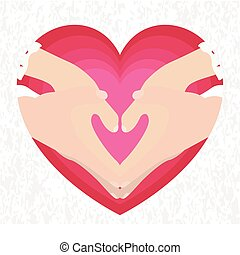 Couple hands in a heart