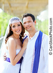 Couple happy hug in wedding day smiling