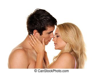 Couple has fun and joy. Love, eroticism and tenderness in...