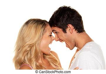 Couple has fun and joy. Love, eroticism and tenderness in everyday life.