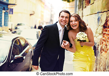 Couple has fun while they walk around the old city