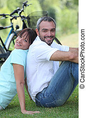 Couple having a bike ride in the country