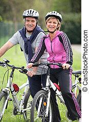 Couple having a bike ride
