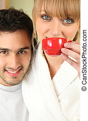 Couple having a coffee in the morning