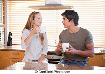 Couple having a cup of tea
