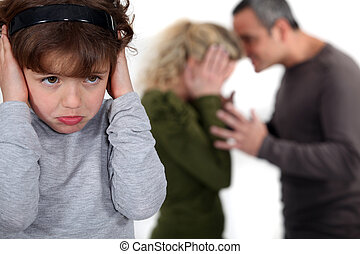 couple having a quarrel in front of their kid