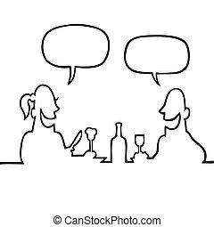 Couple having a romantic dinner - Black line art...