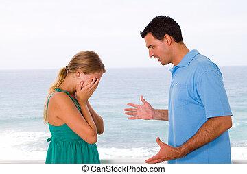 couple having an argument - young couple having an argument...