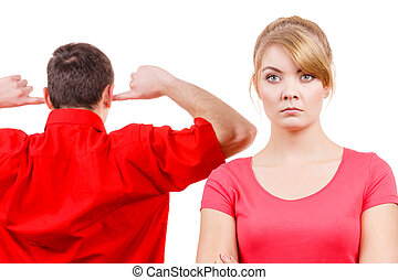 Couple having argument. Man and woman in disagreement -...