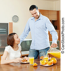 couple having breakfast  in morning at home