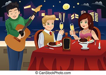 Couple Having Dinner - A vector illustration of happy couple...