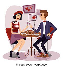 Couple having dinner with wineglasses. Lovers, Man and woman sitting at the table. Cute girl and boy in cafe. Valentine's Day. Love card. Vector illustration in flat style