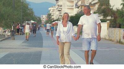 Couple having enjoyable walk on summer resort