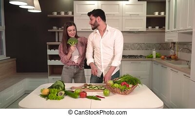 Couple Having Fun During Meal Prep
