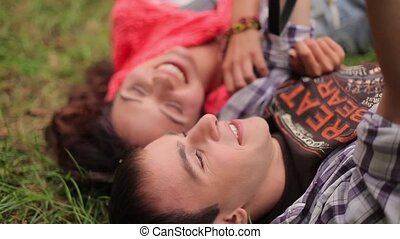 Couple having fun on the grass