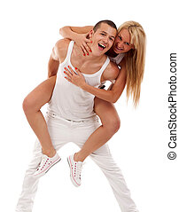 couple having fun over a white background