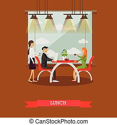 Couple having lunch in restaurant concept vector illustration