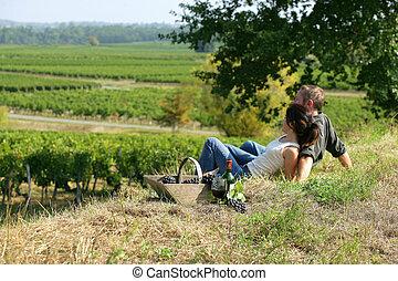 couple having picnic in the vineyard