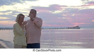 Couple having romantic seaside walk with wine