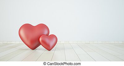 couple heart in 3d, love concept